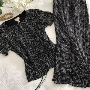 NWOT Talbots Silk Top and Skirt Set